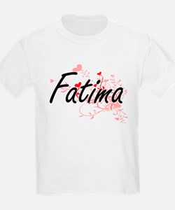 Fatima Artistic Name Design with Hearts T-Shirt