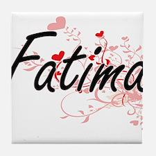 Fatima Artistic Name Design with Hear Tile Coaster