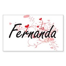 Fernanda Artistic Name Design with Hearts Decal