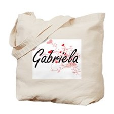 Gabriela Artistic Name Design with Hearts Tote Bag