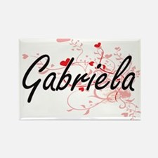 Gabriela Artistic Name Design with Hearts Magnets