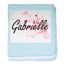 Gabrielle Artistic Name Design with H baby blanket