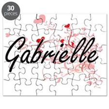 Gabrielle Artistic Name Design with Hearts Puzzle