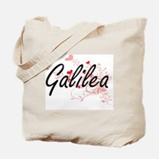 Galilea Artistic Name Design with Hearts Tote Bag