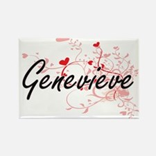 Genevieve Artistic Name Design with Hearts Magnets