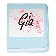 Gia Artistic Name Design with Hearts baby blanket