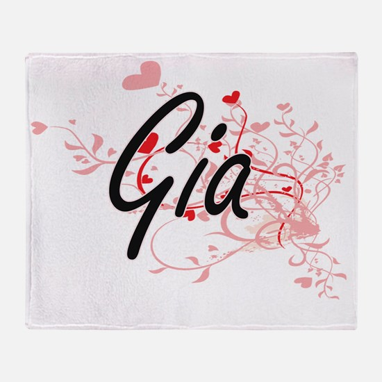 Gia Artistic Name Design with Hearts Throw Blanket