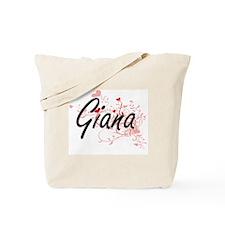 Giana Artistic Name Design with Hearts Tote Bag