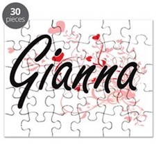 Gianna Artistic Name Design with Hearts Puzzle