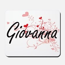 Giovanna Artistic Name Design with Heart Mousepad