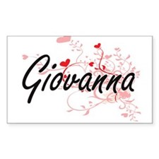 Giovanna Artistic Name Design with Hearts Decal