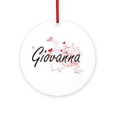 Giovanna Artistic Name Design wit Ornament (Round)