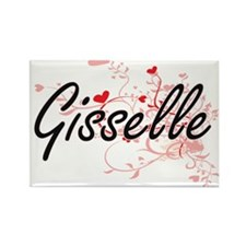 Gisselle Artistic Name Design with Hearts Magnets