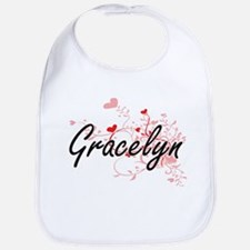Gracelyn Artistic Name Design with Hearts Bib