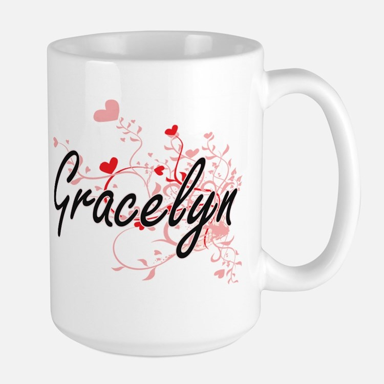 Gracelyn Artistic Name Design with Hearts Mugs