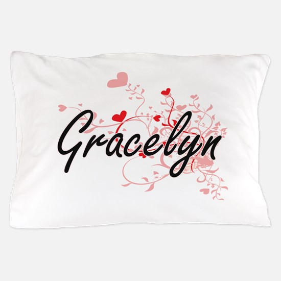 Gracelyn Artistic Name Design with Hea Pillow Case