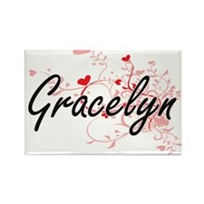 Gracelyn Artistic Name Design with Hearts Magnets