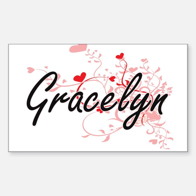 Gracelyn Artistic Name Design with Hearts Decal