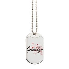 Gracelyn Artistic Name Design with Hearts Dog Tags