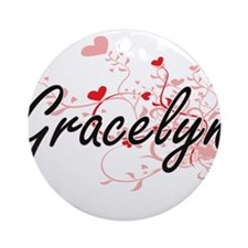 Gracelyn Artistic Name Design wit Ornament (Round)
