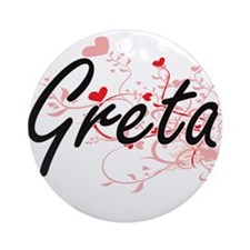 Greta Artistic Name Design with H Ornament (Round)
