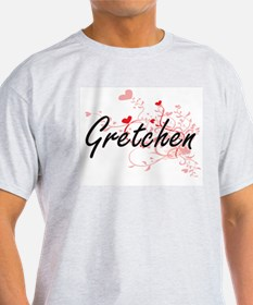 Gretchen Artistic Name Design with Hearts T-Shirt