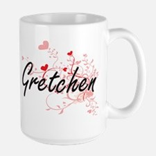 Gretchen Artistic Name Design with Hearts Mugs