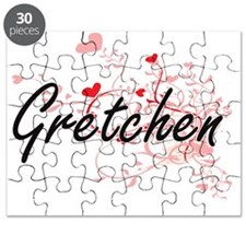 Gretchen Artistic Name Design with Hearts Puzzle