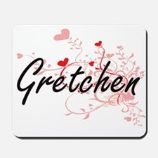 Gretchen Artistic Name Design with Heart Mousepad