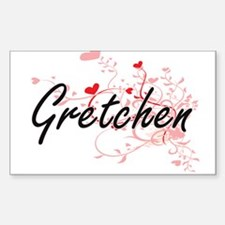 Gretchen Artistic Name Design with Hearts Decal