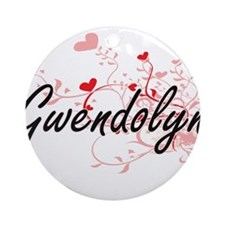 Gwendolyn Artistic Name Design wi Ornament (Round)