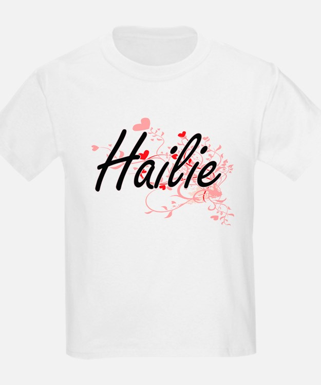 Hailie Artistic Name Design with Hearts T-Shirt