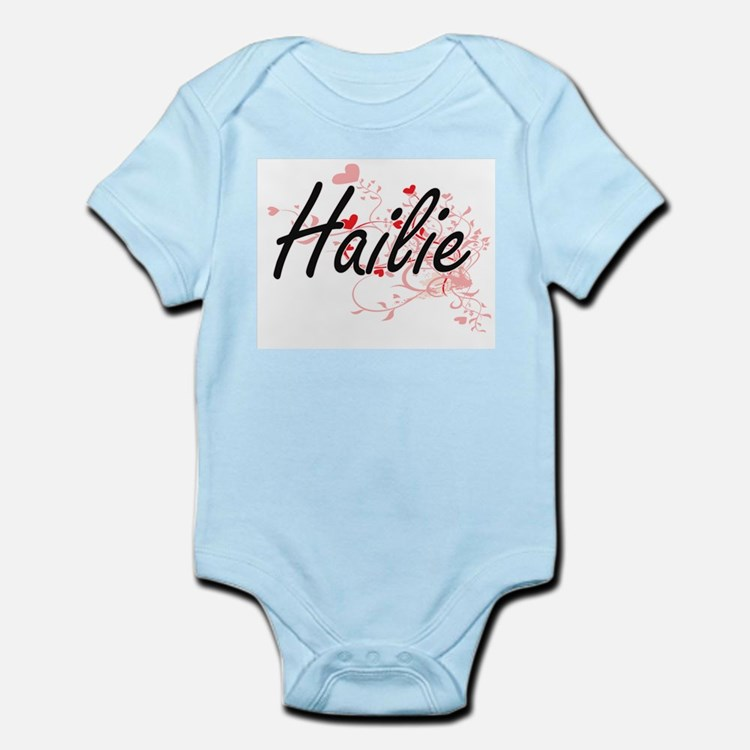 Hailie Artistic Name Design with Hearts Body Suit