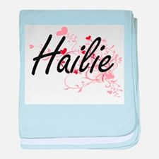 Hailie Artistic Name Design with Hear baby blanket