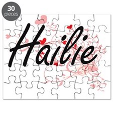 Hailie Artistic Name Design with Hearts Puzzle