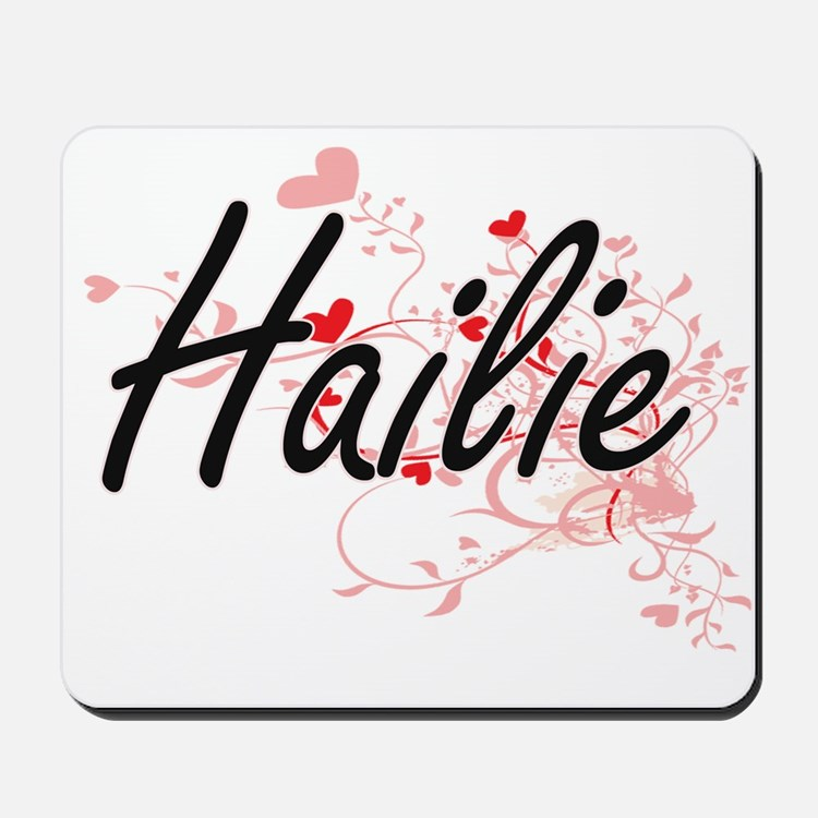 Hailie Artistic Name Design with Hearts Mousepad
