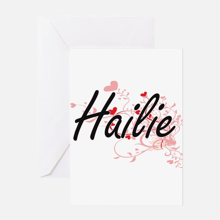Hailie Artistic Name Design with He Greeting Cards