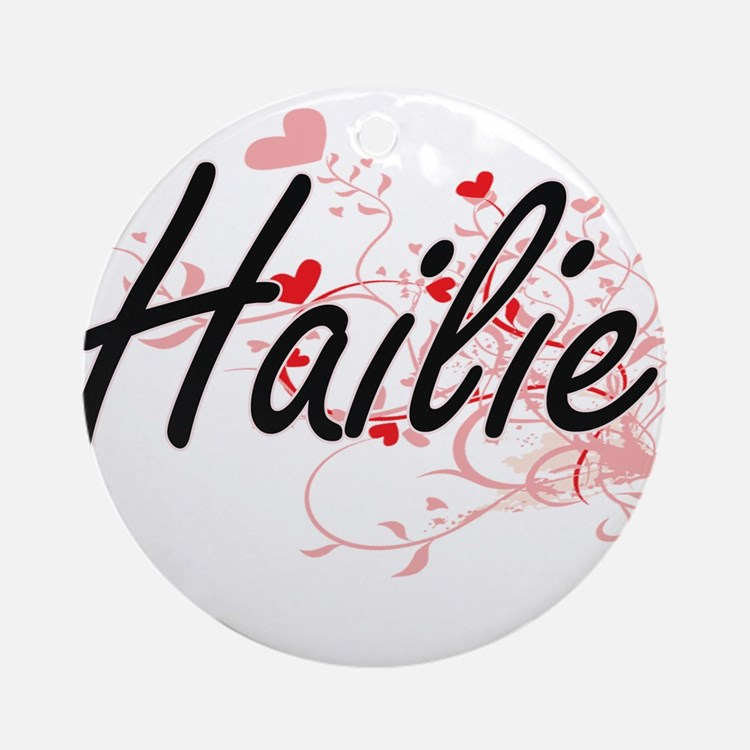 Hailie Artistic Name Design with Ornament (Round)