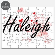 Haleigh Artistic Name Design with Hearts Puzzle