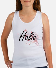 Halie Artistic Name Design with Hearts Tank Top