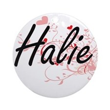 Halie Artistic Name Design with H Ornament (Round)