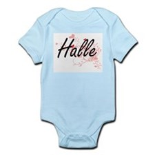 Halle Artistic Name Design with Hearts Body Suit