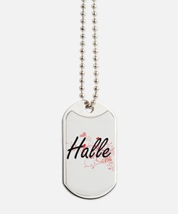 Halle Artistic Name Design with Hearts Dog Tags