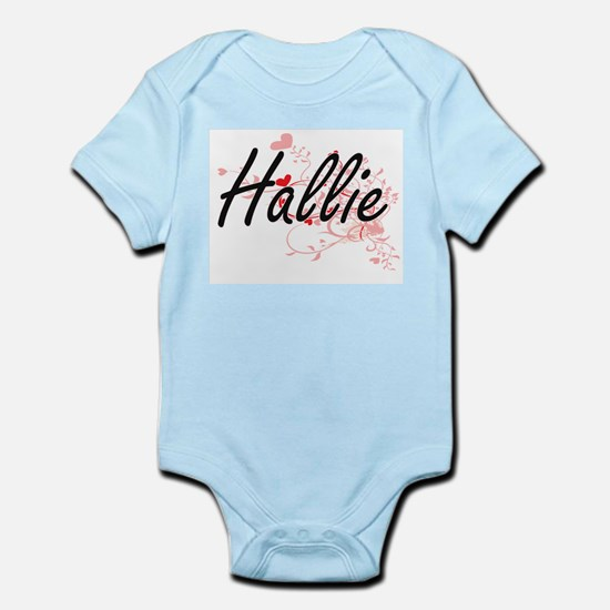 Hallie Artistic Name Design with Hearts Body Suit