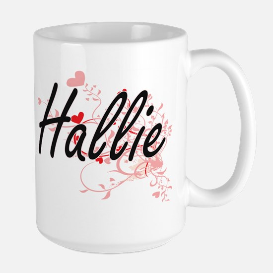 Hallie Artistic Name Design with Hearts Mugs
