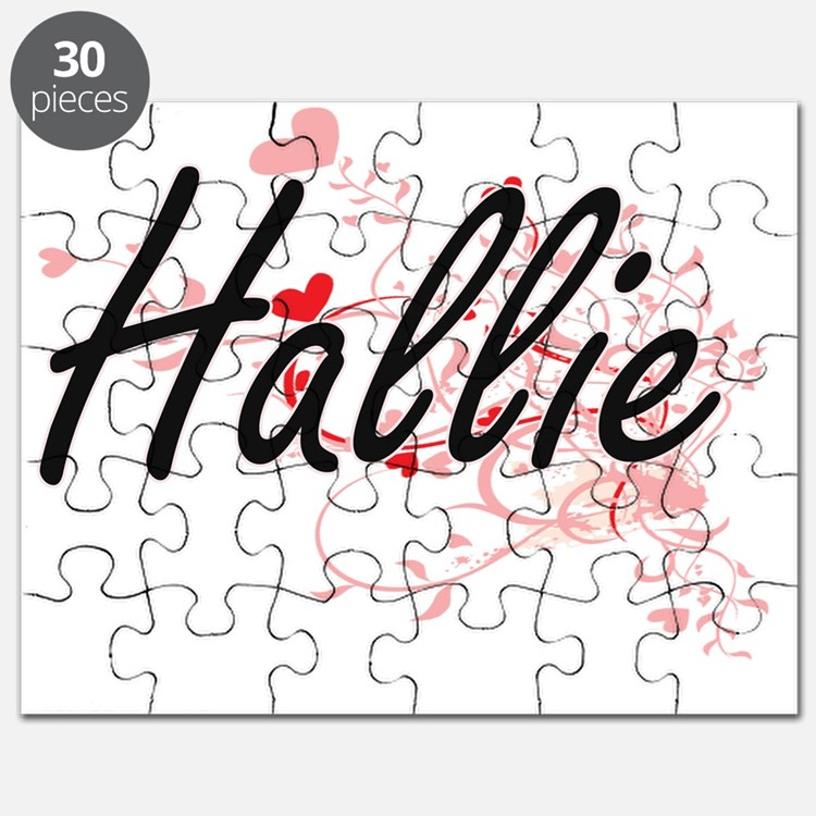 Hallie Artistic Name Design with Hearts Puzzle