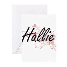 Hallie Artistic Name Design with He Greeting Cards