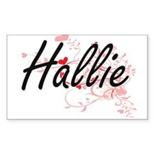 Hallie Artistic Name Design with Hearts Decal