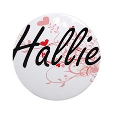 Hallie Artistic Name Design with Ornament (Round)