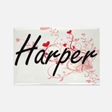 Harper Artistic Name Design with Hearts Magnets